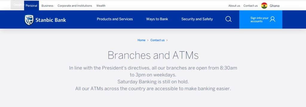 Stanbic Bank Branches In Ghana – List Of All Stanbic Bank Ghana Locations - Stanbic Bank Ghana ATM Locations